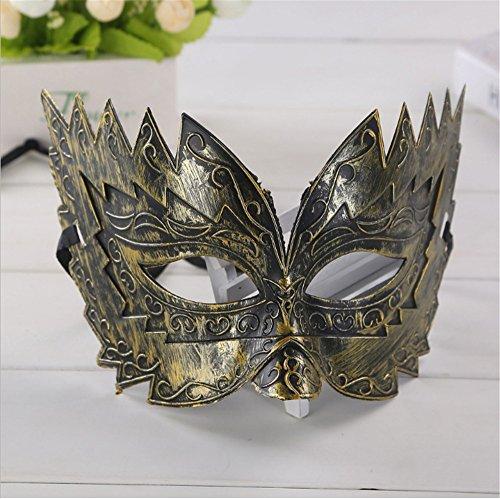 Maskerade,Bronze Farbe Sägezahn Mann antik Maske Halloween Party halb Gesicht Junge Maske Gold Masquerade