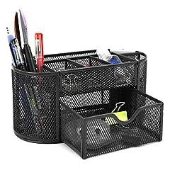 Idea Regalo - BTSKY - Porta oggetti da scrivania a 9scomparti multi-funzionale, salvaspazio per ufficio, contenitore per cancelleria con cassettino portaoggetti, struttura a rete Black