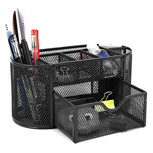 Btsky - porta oggetti da scrivania a 9scomparti multi-funzionale, salvaspazio per ufficio, contenitore per cancelleria con cassettino portaoggetti, struttura a rete black