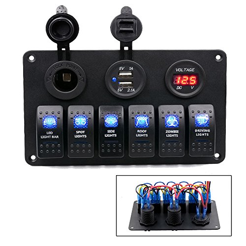 TurnRaise 6 Gang Rocker Switch Panel Circuit Breaker + Dual USB Power Charger Adapter + 12V Cigarette Socket + Digital Voltmeter for Car Boat Marine Test