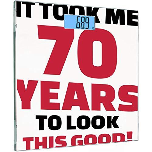 Ultra Slim Hochpräzise Sensoren Digitale Körperwaage 70. Geburtstag Dekorationen Gehärtetes Glas Personenwaage, Party-Thema Motivations-Zitat 70 Jahre alt, Dark Coral Black and Whit