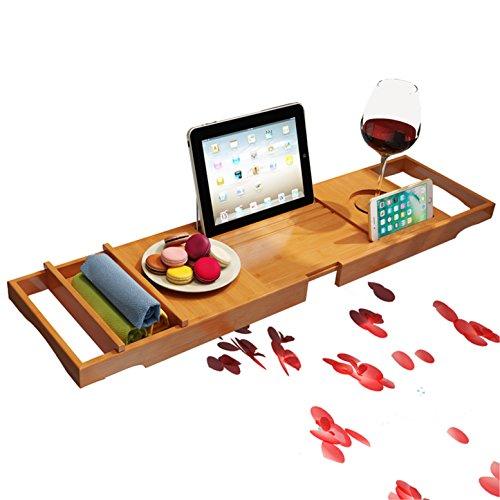 RoseFlower® 109 x 23 cm Badewannenablage aus Bambus Ausziehbar Badewanne Caddy Badewanne Tablett mit Verstellbarer iPad, Buch, eReader, Handys, Wein Glas Halter - für das ultimative Verwöhnerlebnis #4