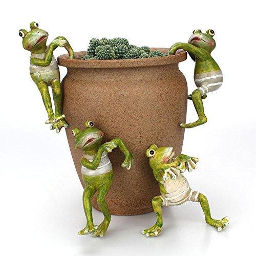 KOBWA Ornamental Frog, Frosch Pflanze, Wald Green Frog Plant Yard Ornamente, Frösche auf Felsen Garten Oder Pondside Tier Ornamente für Office Desk & Hausgarten Topf Dekor