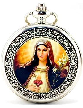Unendlich U Madonna Maria Blessed Virgin Mary Retro Handaufzug Mechanische Taschenuhr Hohle Skelett Kettenuhr...