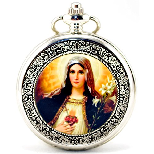 infinite-u-retro-catholic-blessed-virgin-mary-silver-hollow-skeleton-mechanical-pocket-watch