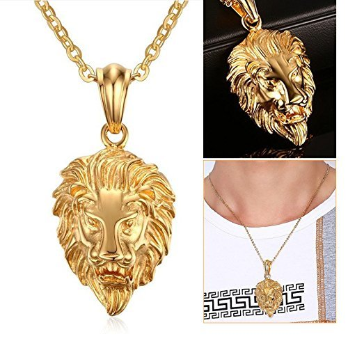 Factorywala Hiphop Rock Punk 'Lion Head' 18K Gold Plated Pendant With Chain For Men Boys