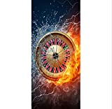 Adesivo Porta Casino Fire With Water Photo Stickers Muraux Autocollant Porte Sticker Papier Peint Stickers Décoration de la Maison 88x210cm