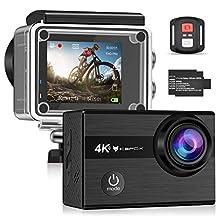 """IceFox Action Cam 4k Caméra sous-Marine Ultra FHD 30M, 2"""" LCD 170° Ultra Grand Angle Caméra de Casque étanche avec 2 Batteries Rechargeables et Wi-FI"""