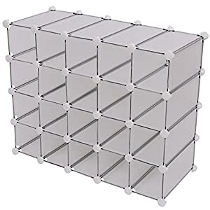 CLEARANCE HOMCOM Interlocking 20 Compartments Cube Organizer Plastic Storage Shoe Rack Display Stand