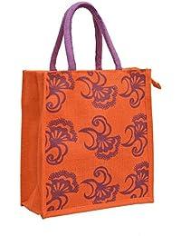 Orange Jute With Purple Nine Flowers Printed With Purple Rope Handle Jute Burlap Lunch Tiffin Outdoor Handbag...