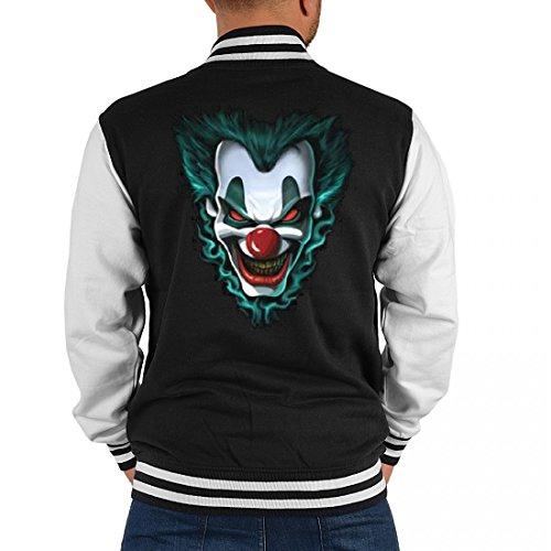 USA Biker College-Jacke für Herren - böses Clown Gesicht mit grünen Haaren - Geschenk-Idee für Halloween und Fasching, Größe:XL (College Halloween Ideen Männer)