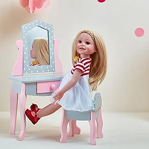 Mesa de tocador y banqueta para muñeca de 45,7 cm de OliviasWorld TD-0207AG