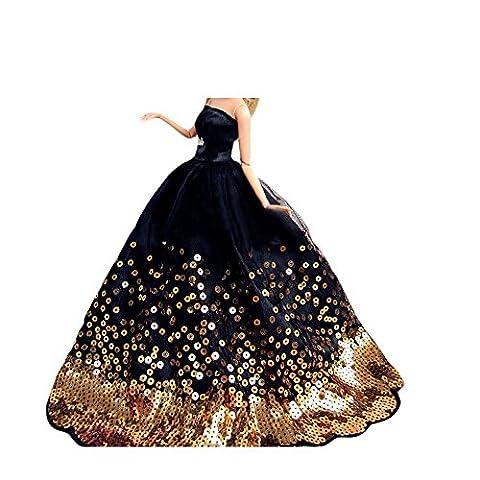 Youvinson Verschiedene Handmade Brautkleider und Kleider für Barbie-Puppen (Schwarz)