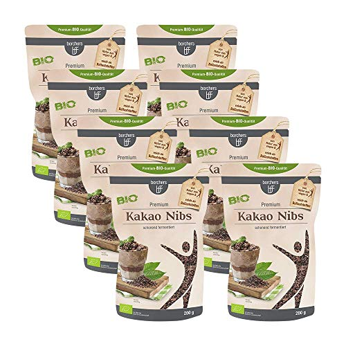 8 x borchers Bio Kakaonibs | Bio-Qualität | Roh | Von Natur aus Vegan | Schonend fermentiert | 200 g