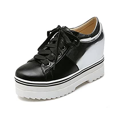 BalaMasa Girls Heighten Inside Gear Bottom Color Matching Thick Bottom Heel Silver Imitated Leather Pumps-Shoes - 5.5 UK