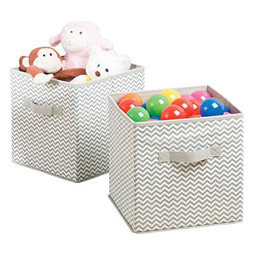 Decke Box (mDesign Aufbewahrungsbox aus Stoff im 2er-Set - Ordnung im Kinderzimmer - große Box zur Decken, Kleidung oder Spielzeug Aufbewahrung - Taupe/Natur)