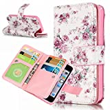 iPhone 5S Fold Wallet Cover, Aeeque Beautiful Pink Floral Pattern and Premium PU Leather Stand Flip Phone Case for iPhone 5 5S SE with Magnetic Closure / 9 Card Slots