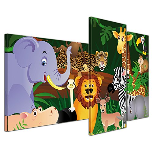 Kunstdruck - Kinderbild Wilde Tiere im Dschungel Cartoon - Bild auf Leinwand - 130x80 cm 3 teilig - Leinwandbilder - Bilder als Leinwanddruck - Wandbild von Bilderdepot24 - Kinder - Regenwald - Urwald - abenteuerlich