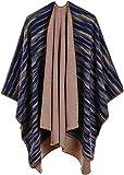 Shmily Girl Damen Poncho Habe Gestrickt Kaschmir Überdimensionalen Decke Kap-Schal (One Size, Regenbogen/blau)