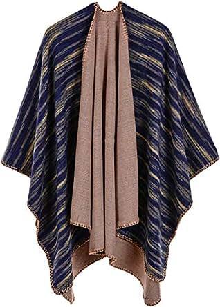 Shmily Girl Femme Cape Poncho Extra Large écharpe Châle Blanket Poncho Automne Hiver (One Size, Arc en Ciel/Bleu Marine)