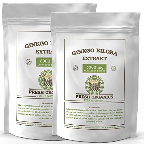 Ginkgo Biloba 6000mg | 1000 Tabletten (vegan) | Hochdosiert | Reines Ginko Extrakt in Premium Qualität | Zur Unterstützung von Gedächtnis und Konzentration | PREISHIT