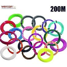 PLA filamentos de impresión WER 1.75mm 3D de impresión de tinta para 3D Pluma /3D Lápiz, 200 m (10m * 20colores)
