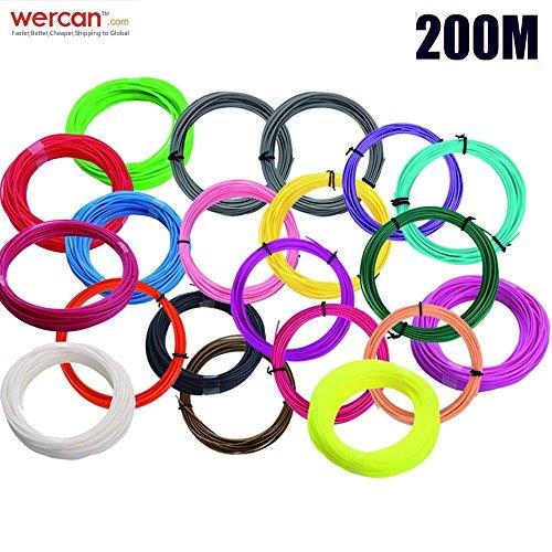 WER 200 m (10 m * 20 Farben) PLA 3D-Druck-Filament 1.75mm für 3D-Druckstifte