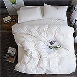 Unimall 2tlg. Bettwäsche 155x220 cm + 80x80 cm aus 100% Bio Baumwolle Unifarben Weiß