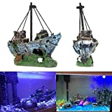 Ornamento per acquario Oyedens, relitto barca a vela affondata, nave cacciatorpediniere