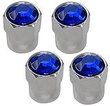 Aerzetix - 4 Cappucci delle valvole auto bicicletta moto con cristallo blu