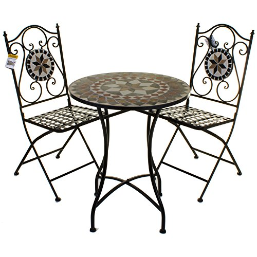 Marko Outdoor 3PC Mosaic Bistro Set Outdoor Patio Garden Design Furniture Table and Chairs (Costa)