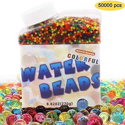 NiLooki Wasserperlen Orbeez Kugeln Gel Erde Wasser Perlen 50.000 Bunte klare Vase Füller für Heimdekoration