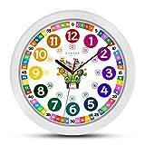 ONETIME Reloj de Pared para niños Colorido con diseño de Animales y Mecanismo silencioso, Aprender Las Horas, 30,5 cm de diámetro