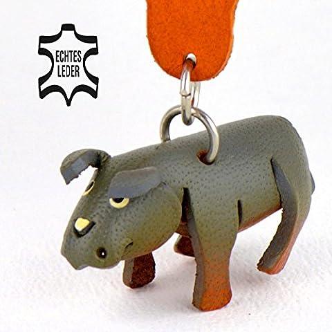 Nashorn Rhino - Spielzeug Schlüsselanhänger Figur aus Leder von Monkimau in grau - Dein bester Freund. Immer dabei! - 5x2x4cm LxBxH klein, jeweils 1 Stück