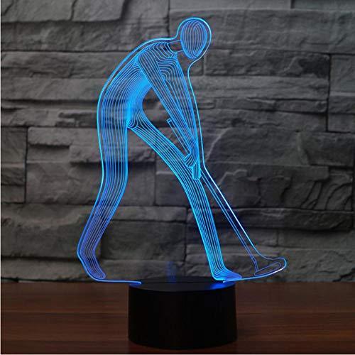 cht Dekor Golf Schaukel Action Led Nachtlicht Schlaf Beleuchtung 3D Golfer Mann Bereit Position Modellierung Tischlampe ()