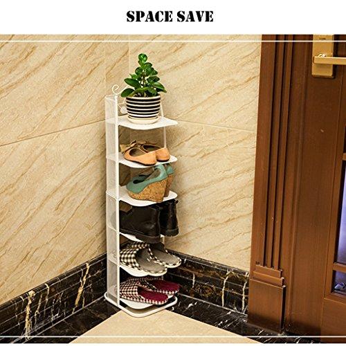 GWF Kleine schmale Schuhablage Metall schwarz Aufbewahrungsstand für Stiefel Balkon Eingang Ecke Eingang stapelbar Regal PlatzsParender Schuhschrank (Farbe : Bronze, größe : 6 Tier) -
