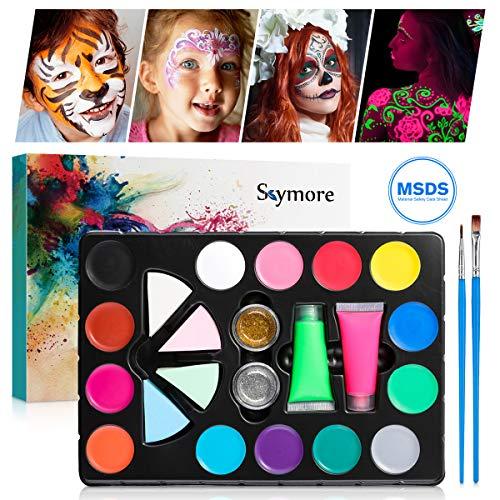 Skymore Kinderschminke Set, 14 Farben Schminkpalette, Kinder Schminkset mit 2 Neon Farben, 2 Pinsel, 2 Glitzer und 4 Schwämme, Körperfarben für Partys Mädchen, Halloween & Fasching