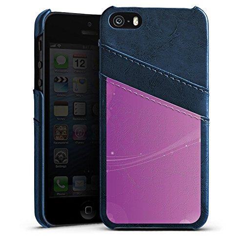 Apple iPhone 5s Housse Étui Protection Coque Lumière Motif Motif Étui en cuir bleu marine