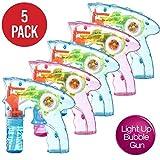 Confezione da 5 pistole spara bolle con luce LED spara bolle da interno ed esterno per bambini e bambine, non servono le batterie