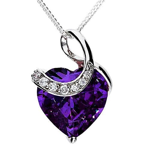 MYA art Damen Kette Halskette Herzketten 925 Sterling Silber Herz mit Ornament Anhänger Swarovski Elements Lila MYASIKET-38