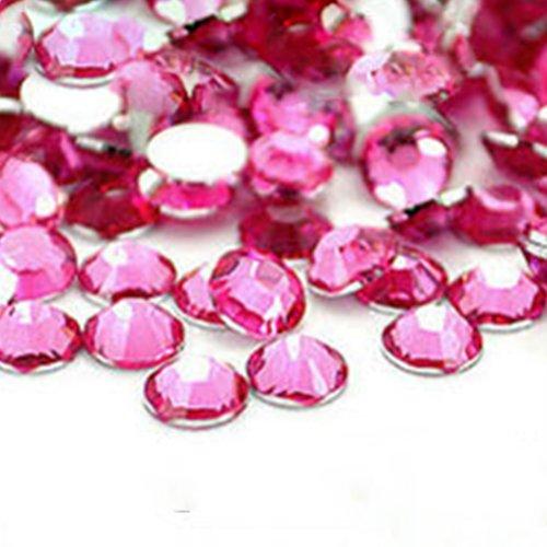 Vente En Gros 2000pcs Cristal Rhinestones Flatback Acrylique Perles Nail Art Rose-Rouge
