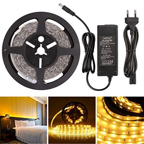 LEDMO® Warmweiß LED Streifen 5 Meter läng, lichtband mit 300 LEDs (SMD2835), inkl. 12V 60W Netzteil für den Innenraum