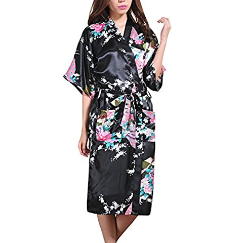Waymoda Women's Luxury Silky Satin Nightwear Dressing Gown, Peacock and Blossoms Pattern Kimono Pajamas, 10+ Color, 5 Sizes Optional - Long style