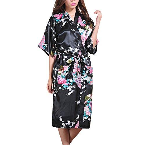 Waymoda Women's Luxury Silky Satin Nightwear Dressing Gown, Peacock and Blossoms Pattern Kimono Pajamas, 10+ Color, 5 Sizes Optional - Long (Peacock Halloween Baby Kostüme)