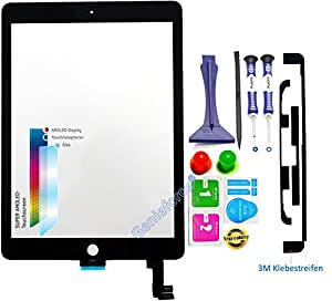 Premium? Touchscreen Glas Digitizer Assembly für Apple iPad Air 2 / iPad 6 - Komplettes Touchscreen Display Glass mit 821-2693-A Flexkabel, - Front Panel - SCHWARZ inkl. Best NANO Profi 8-in-1 Werkzeugset - SCHWARZ BLACK - NEU ?