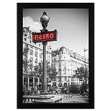 A3 (29,7x42 cm) Schwarzer Bilderrahmen mit Glasfront - Geeignet für Bilder mit Abmessungen von 29,7x42 cm - mit Aufhängevorrichtung