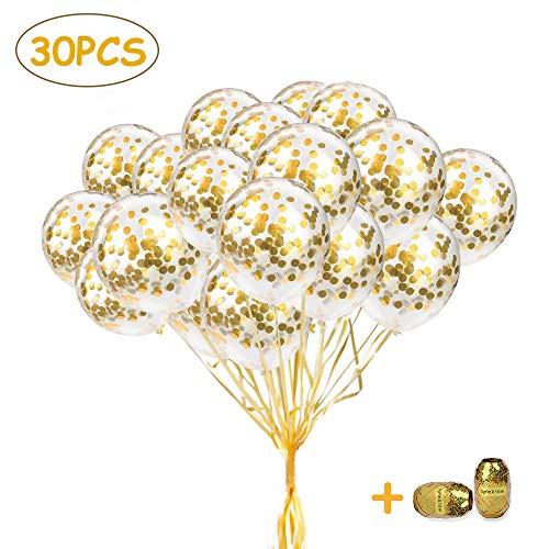 SPECOOL Gold Konfetti Ballons, 30 Stück Latex Luftballons mit Golden Folie Konfetti für Geburtstagsfeier Hochzeit Party und Festival Dekoration