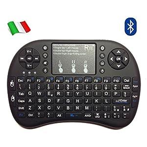 Rii Mini i8+ Wireless (Italienisches Layout)–Mini Beleuchtete Tastatur mit Maus Touchpad für Smart TV, Mini PC, HTPC, Konsole, Computer