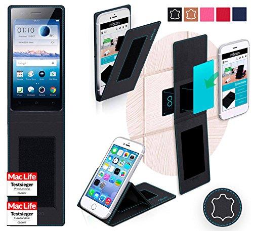 reboon Hülle für Oppo Neo 5s Tasche Cover Case Bumper | Schwarz Leder | Testsieger