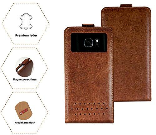 Handy Schutz Hülle | für Doogee Y6 Max/ 3D | Slim Flipstyle mit Magnetverschluss | HQ Echt Leder | - Flip Nano XXL Leder Braun